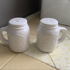 Farmhouse white madon salt and pepper shakers